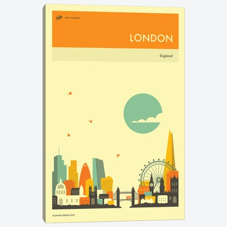 London Skyline II Canvas Print #JBL267} by Jazzberry Blue Canvas Wall Art