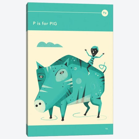 P Is For Pig Canvas Print #JBL273} by Jazzberry Blue Canvas Artwork