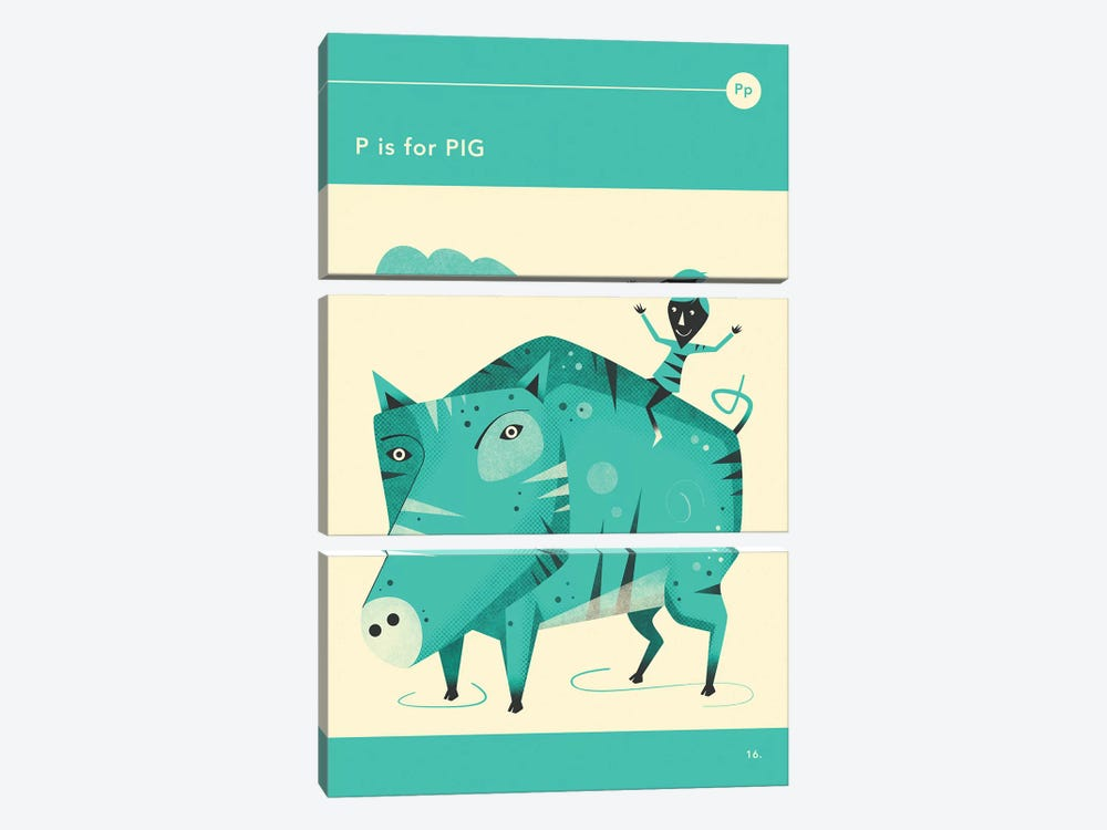 P Is For Pig by Jazzberry Blue 3-piece Canvas Art