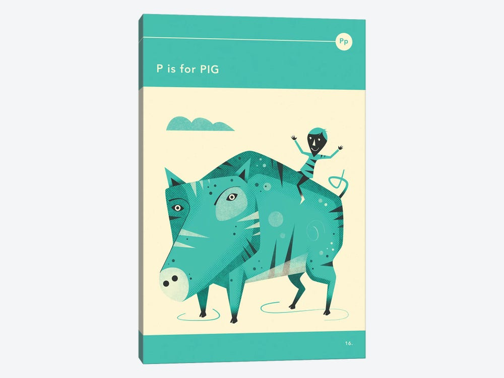 P Is For Pig by Jazzberry Blue 1-piece Canvas Wall Art