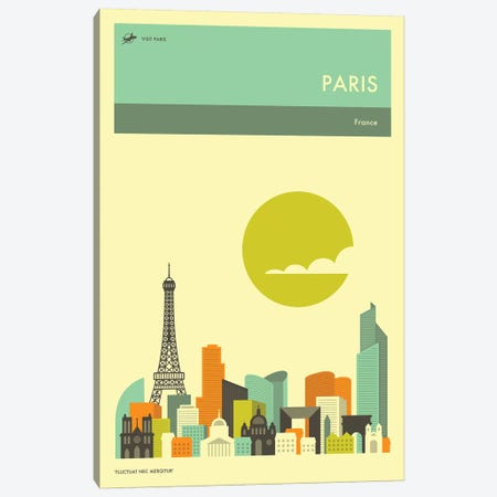 Paris Skyline II Canvas Print #JBL274} by Jazzberry Blue Canvas Print