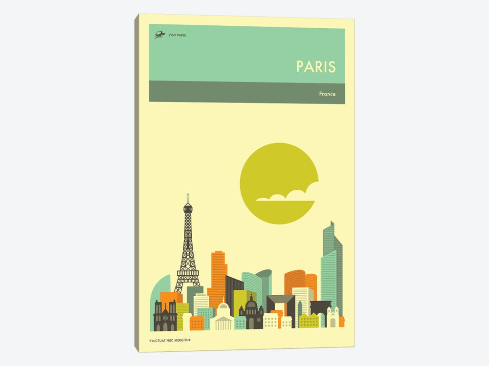 Paris Skyline II by Jazzberry Blue 1-piece Canvas Art Print