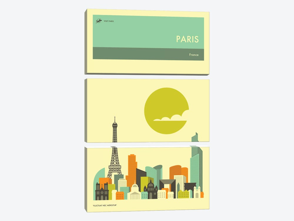 Paris Skyline II by Jazzberry Blue 3-piece Canvas Print