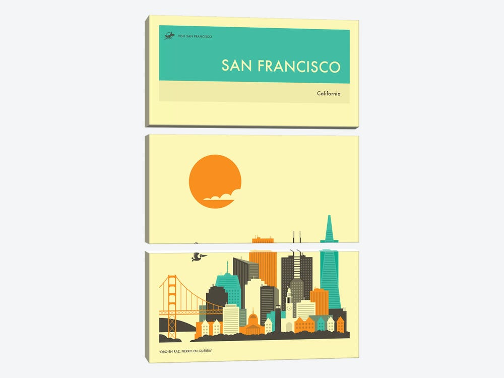 San Francisco Skyline II by Jazzberry Blue 3-piece Canvas Wall Art