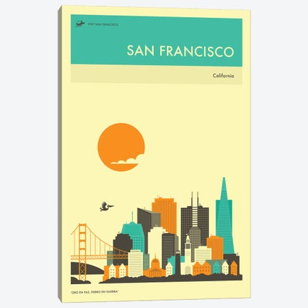 San Francisco Skyline II Canvas Print #JBL277} by Jazzberry Blue Art Print