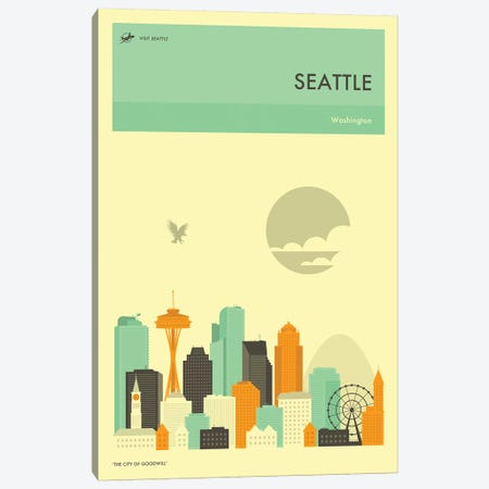 Seattle Skyline Canvas Print #JBL278} by Jazzberry Blue Canvas Art