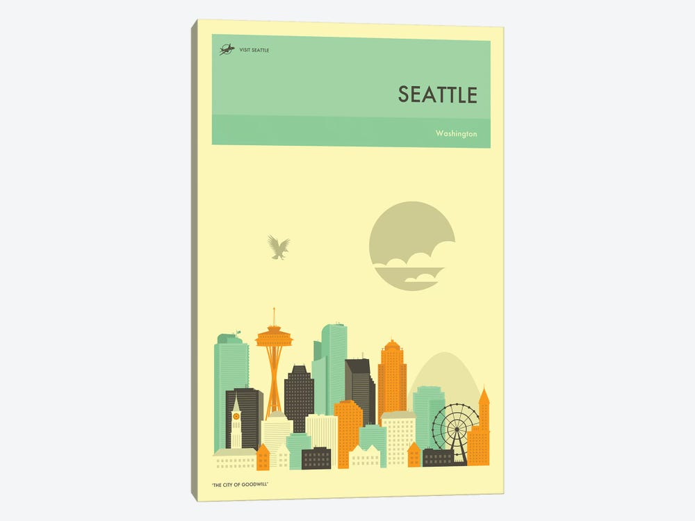Seattle Skyline by Jazzberry Blue 1-piece Canvas Print