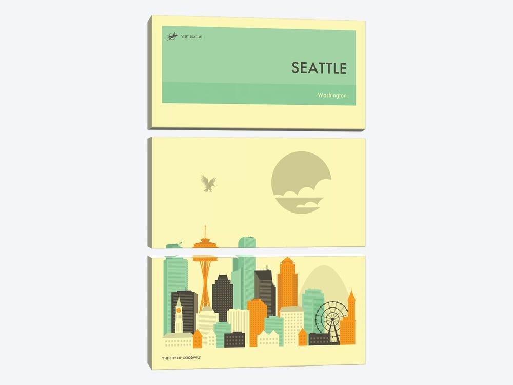Seattle Skyline by Jazzberry Blue 3-piece Canvas Art Print