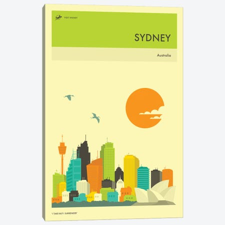 Sydney Skyline Canvas Print #JBL279} by Jazzberry Blue Canvas Wall Art
