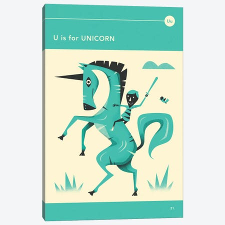 U Is For Unicorn Canvas Print #JBL286} by Jazzberry Blue Canvas Wall Art