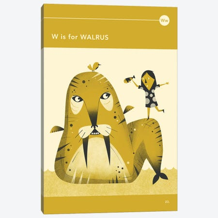W Is For Walrus Canvas Print #JBL287} by Jazzberry Blue Canvas Wall Art