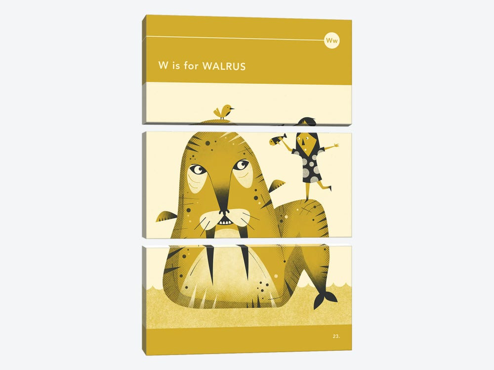 W Is For Walrus by Jazzberry Blue 3-piece Canvas Art Print