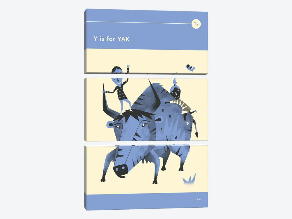 Y Is For Yak by Jazzberry Blue 3-piece Canvas Art Print