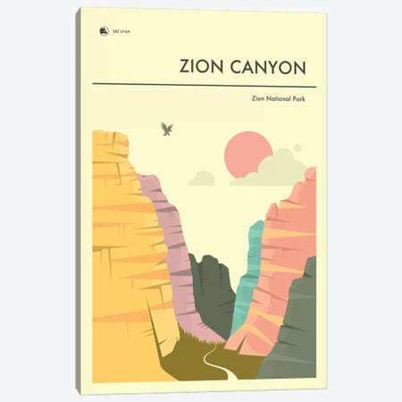 Zion Canyon, Zion National Park II Canvas Print #JBL291} by Jazzberry Blue Canvas Artwork