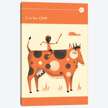 C Is For Cow  Canvas Print #JBL293} by Jazzberry Blue Canvas Artwork