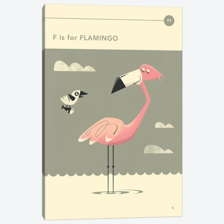 F Is For Flamingo  Canvas Print #JBL294} by Jazzberry Blue Canvas Art Print