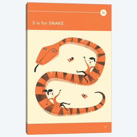 S Is For Snake  Canvas Print #JBL298} by Jazzberry Blue Canvas Artwork