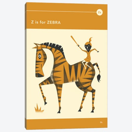 Z Is For Zebra  Canvas Print #JBL300} by Jazzberry Blue Canvas Wall Art