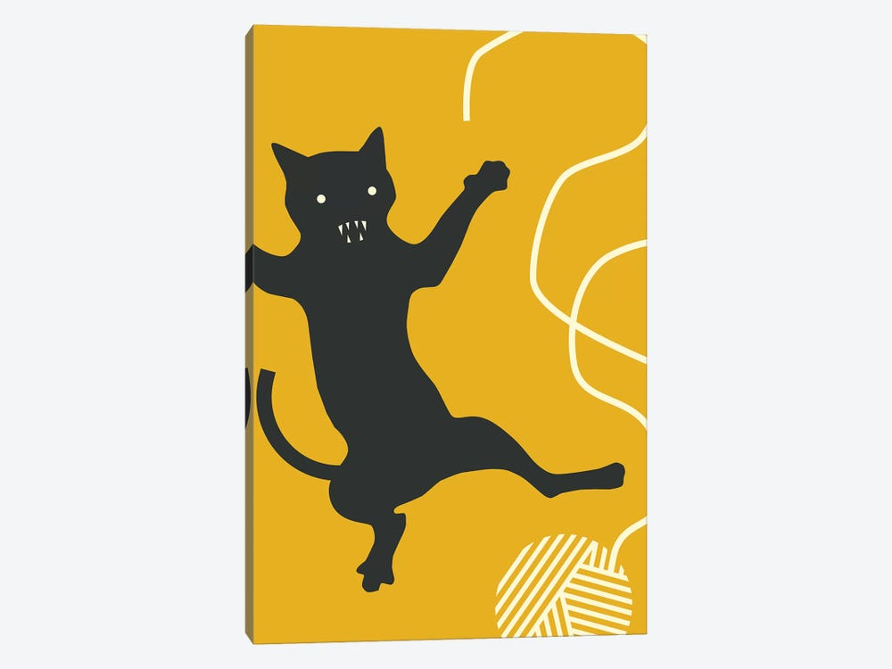 Cat With String by Jazzberry Blue 1-piece Canvas Wall Art