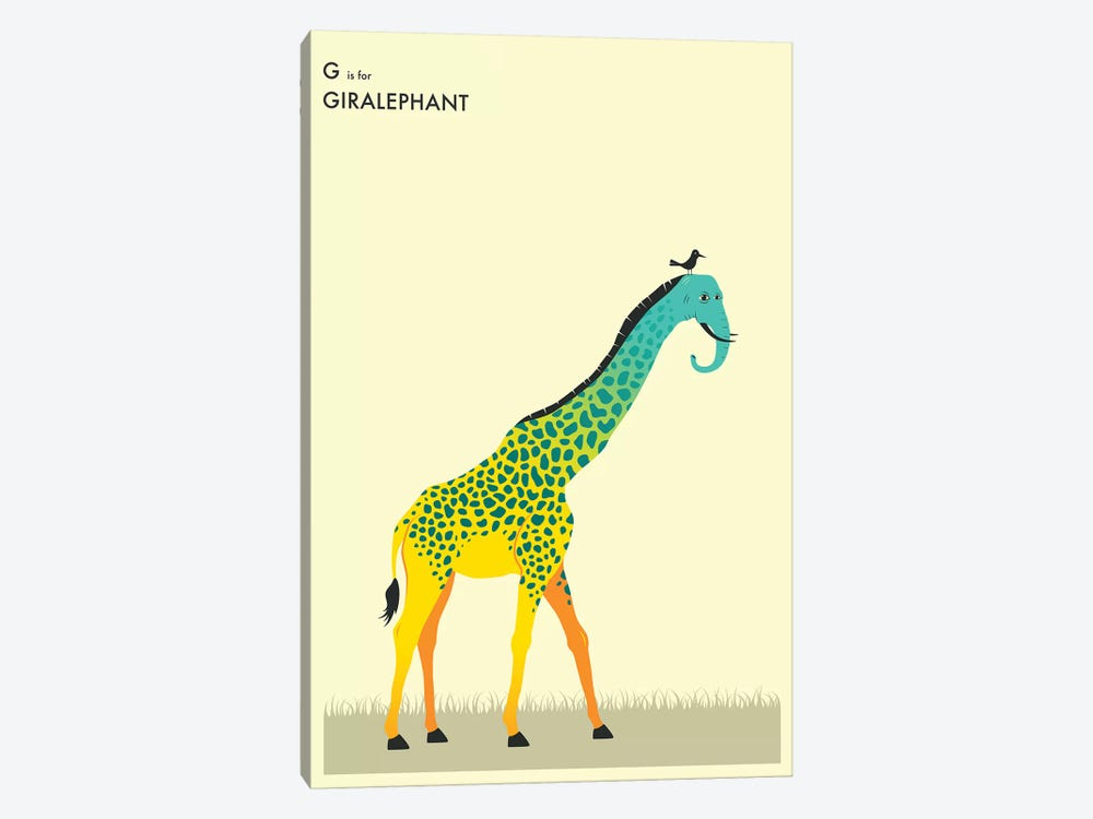Giralephant by Jazzberry Blue 1-piece Canvas Wall Art