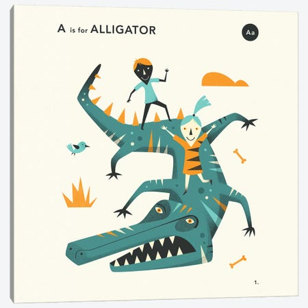 A Is For Alligator II Canvas Print #JBL349} by Jazzberry Blue Canvas Art
