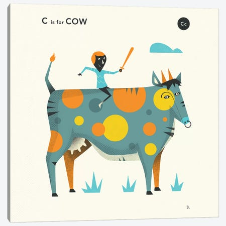 C Is For Cow  II Canvas Print #JBL350} by Jazzberry Blue Art Print