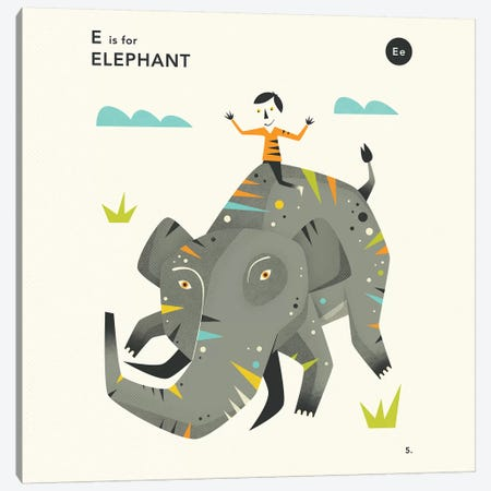 E Is For Elephant II Canvas Print #JBL351} by Jazzberry Blue Art Print