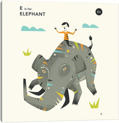 E Is For Elephant II Canvas Art Print