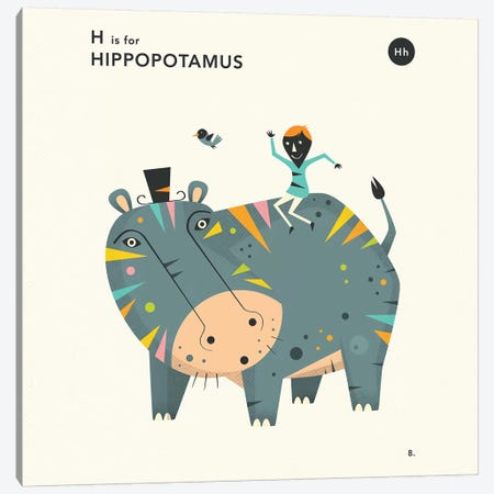 H Is For Hippo  II Canvas Print #JBL352} by Jazzberry Blue Canvas Art Print