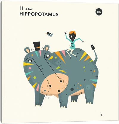 H Is For Hippo  II Canvas Art Print