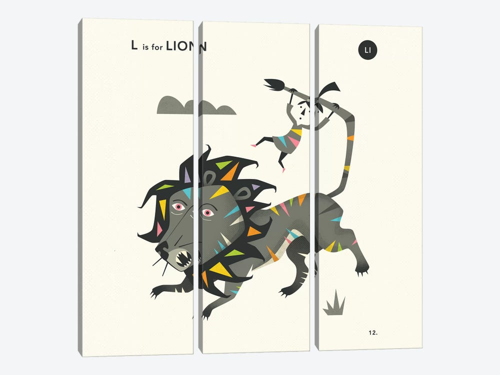 L Is For Lion  II by Jazzberry Blue 3-piece Canvas Art Print