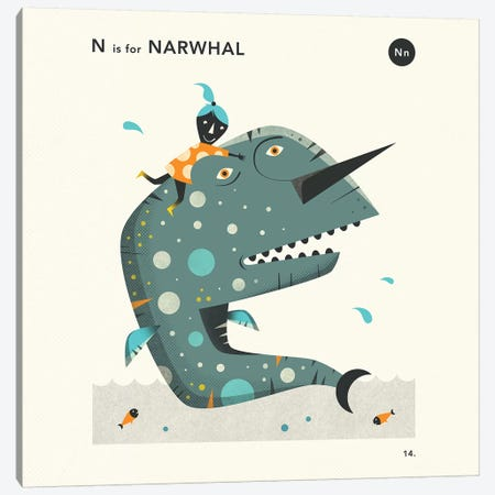 N Is For Narwhal  II Canvas Print #JBL354} by Jazzberry Blue Canvas Art