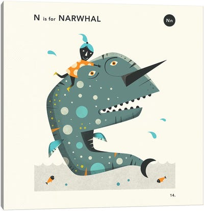 N Is For Narwhal  II Canvas Art Print