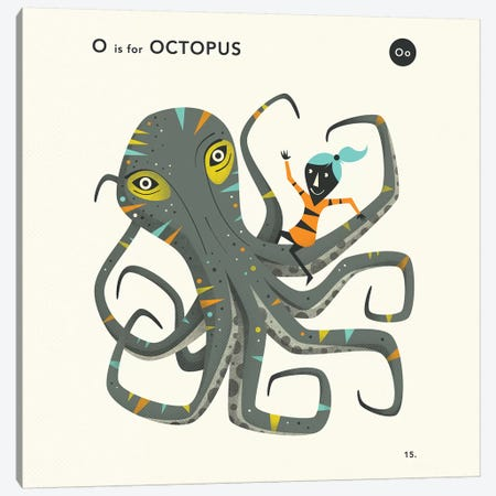 O Is For Octopus  II Canvas Print #JBL355} by Jazzberry Blue Canvas Wall Art