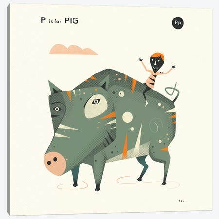 P Is For Pig  II Canvas Print #JBL356} by Jazzberry Blue Canvas Art