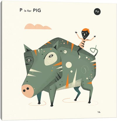 P Is For Pig  II Canvas Art Print