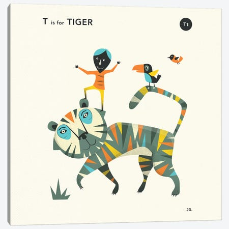 T Is For Tiger II Canvas Print #JBL358} by Jazzberry Blue Canvas Art Print