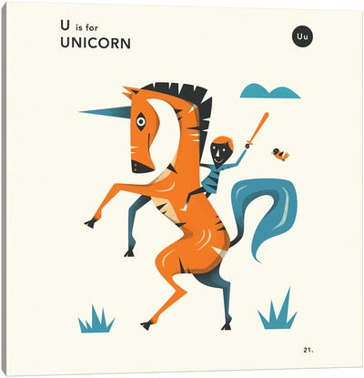 U Is For Unicorn II Canvas Art Print