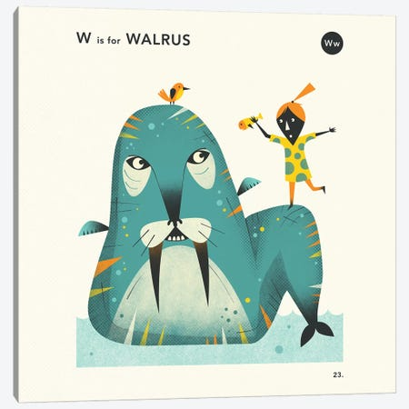 W Is For Walrus II Canvas Print #JBL360} by Jazzberry Blue Canvas Artwork