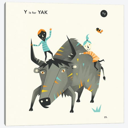 Y Is For Yak II Canvas Print #JBL361} by Jazzberry Blue Canvas Wall Art