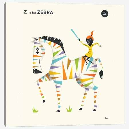 Z Is For Zebra II Canvas Print #JBL362} by Jazzberry Blue Canvas Art