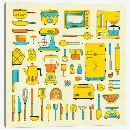 Retro Kitchen Canvas Print #JBL379} by Jazzberry Blue Canvas Art Print