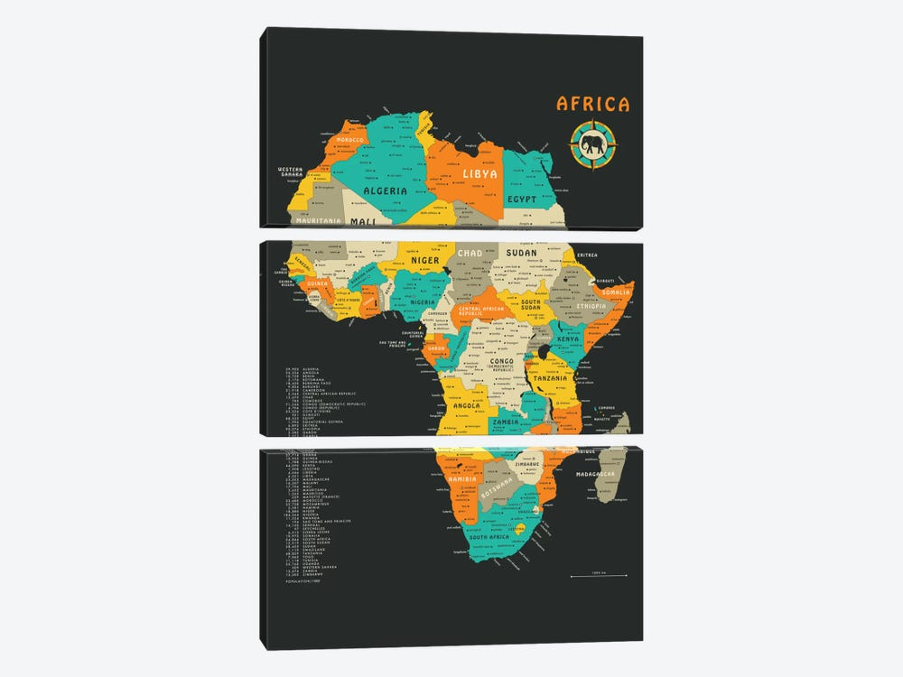 Africa Map by Jazzberry Blue 3-piece Canvas Print