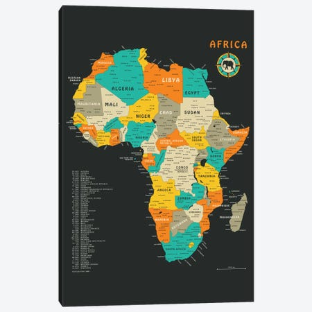 Africa Map Canvas Print #JBL4} by Jazzberry Blue Canvas Art