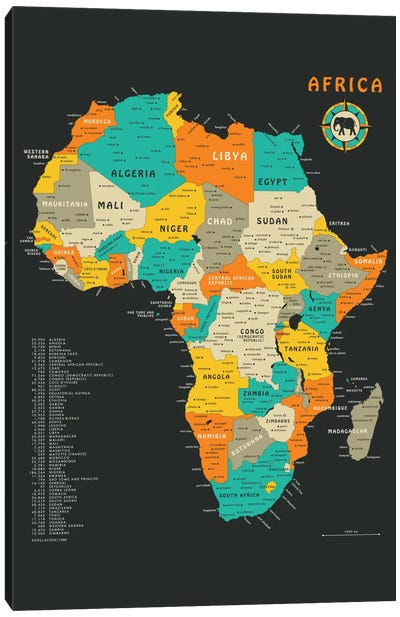 Africa Map Canvas Art Print