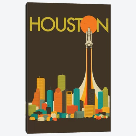 Houston Skyline I Canvas Print #JBL51} by Jazzberry Blue Canvas Artwork