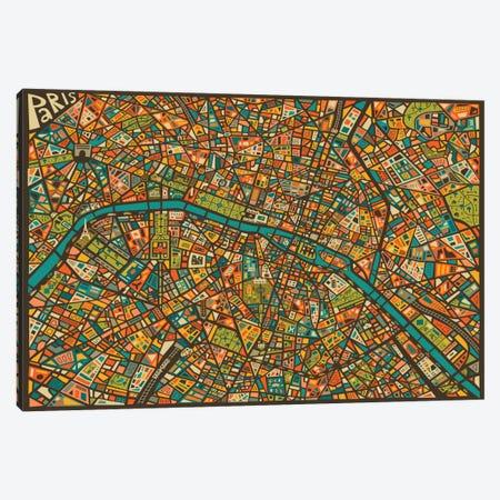 Paris Street Map Canvas Print #JBL60} by Jazzberry Blue Art Print