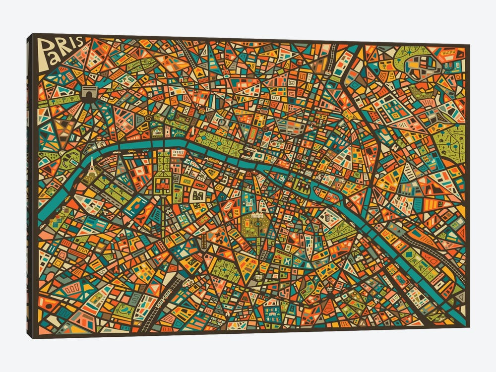 Paris Street Map by Jazzberry Blue 1-piece Art Print