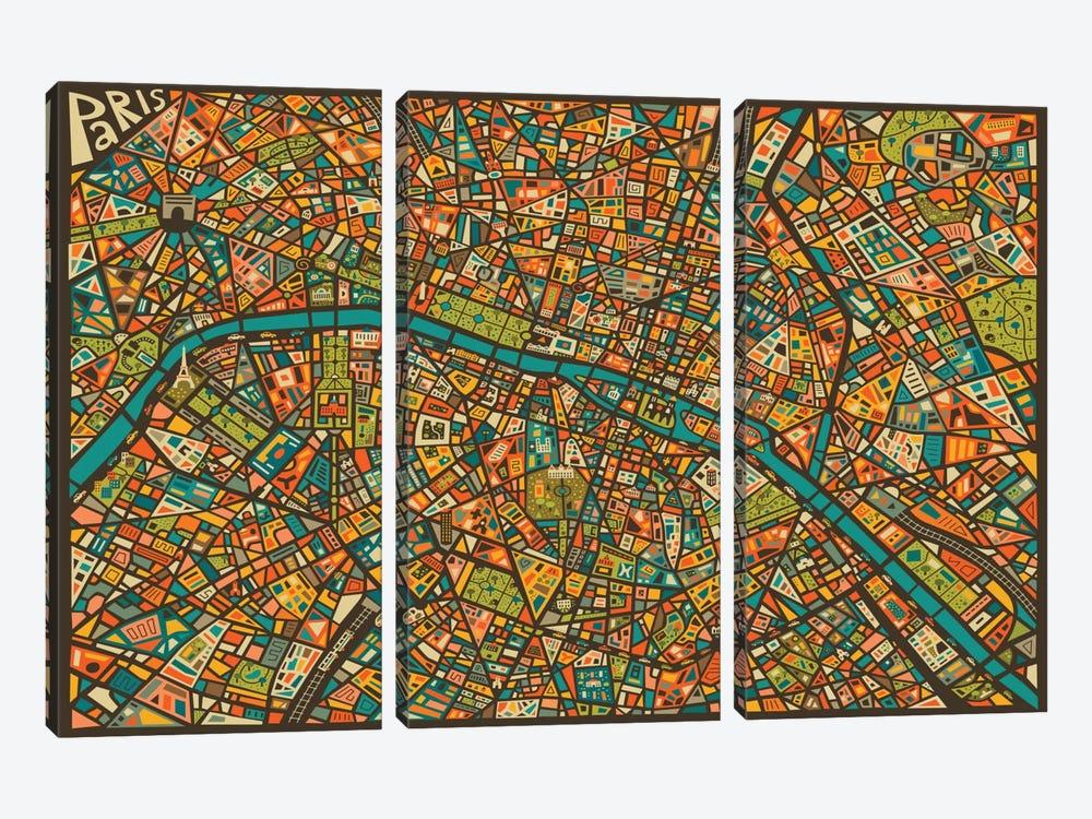Paris Street Map by Jazzberry Blue 3-piece Art Print