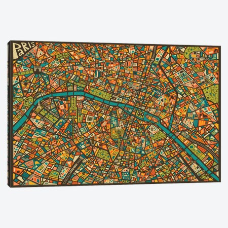 Paris Street Map Canvas Print #JBL60} by Jazzberry Blue Art Print